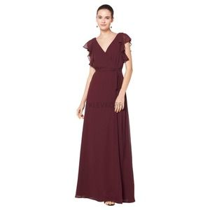#Levkoff Bridesmaids Wine Long Dress 7077 Sz 10